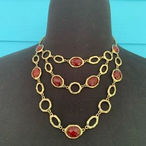Necklace J12 Gold and Red Faceted Beads